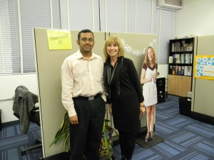 JRP Volunteer Harish and  Young & Healthy Dev. Dir. Jan celebrate the completion of their new website.